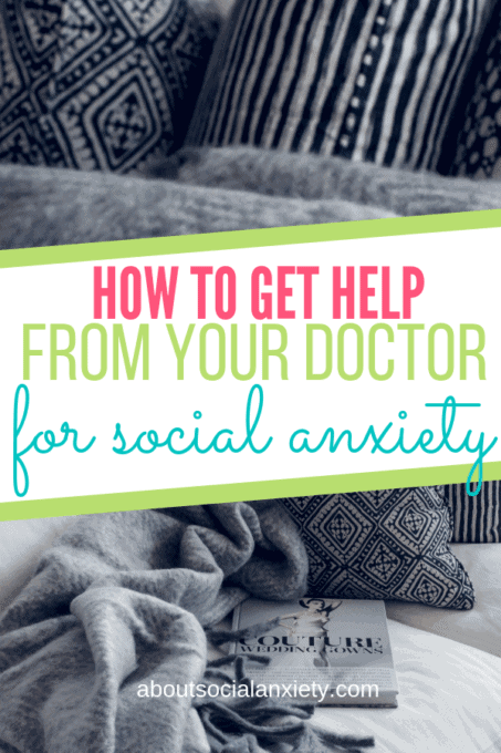 Grey sofa with pillows and text overlay - How to Get Help From Your Doctor For Social Anxiety
