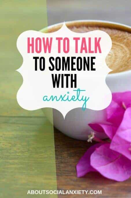 Cup of coffee with text overlay - How to Talk to Someone with Anxiety