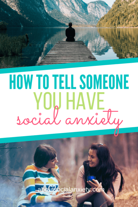 Friends talking and person sitting alone with text overlay - How to Tell Someone You Have Social Anxiety