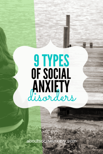 Woman sitting on dock with text overlay - 9 Types of Social Anxiety Disorders