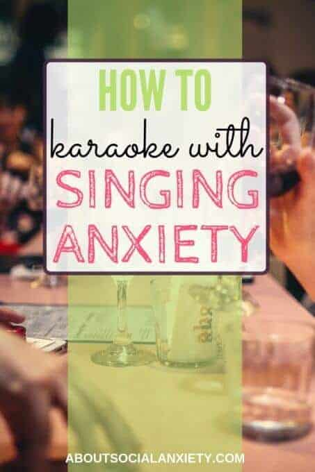 Restaurant scene with text overlay - How to Karaoke with Singing Anxiety