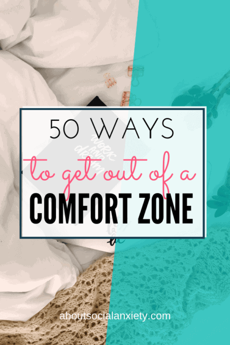 Bedroom scene with text overlay - 50 Things to Get Out of a Comfort Zone