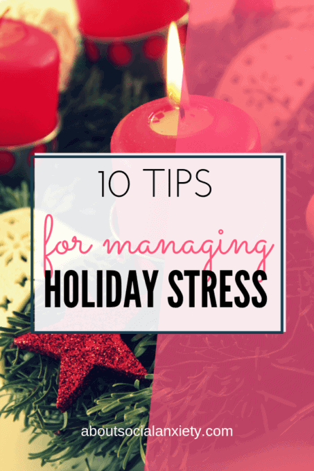 Holiday scene with text overlay - 10 Tips for Managing Holiday Stress