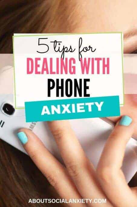 Woman talking on phone with text overlay - 5 Tips for Dealing with Phone Anxiety