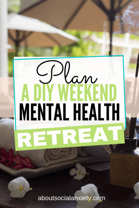 Spa towels on table with text overlay - Plan a DIY weekend mental health retreat