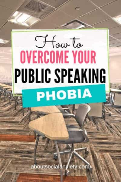 Row of desks with text overlay - How to Overcome Your Public Speaking Phobia