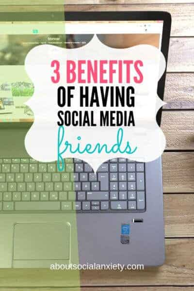 Laptop on desk with text overlay - 3 Benefits of Having Social Media Friends