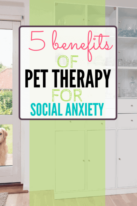 Dog outside door with text overly - 5 Benefits of Pet Therapy for Social Anxiety