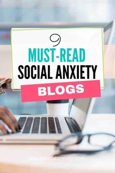 Person at laptop with text overlay - 9 Must-Read Social Anxiety Blogs