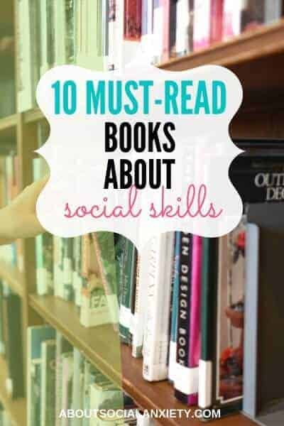 Bookshelf with text overlay - 10 Must-Read Books About Social Skills