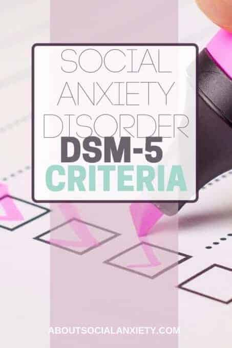 Checklist with text overlay - Social Anxiety Disorder DSM-5 Criteria