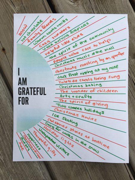 Sunburst Christmas Gratitude Worksheet