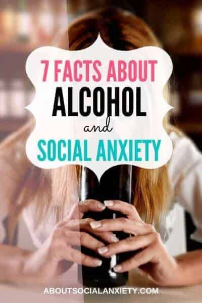 Woman with wine bottle and text overlay - 7 Facts about Alcohol and Social Anxiety