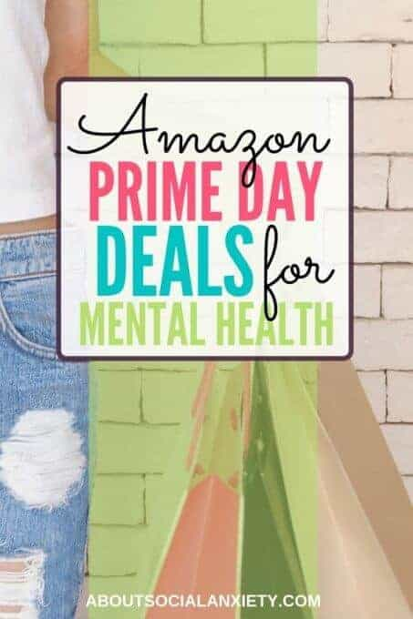 Woman shopping with text overlay - Amazon Prime Day Deals for Mental Health
