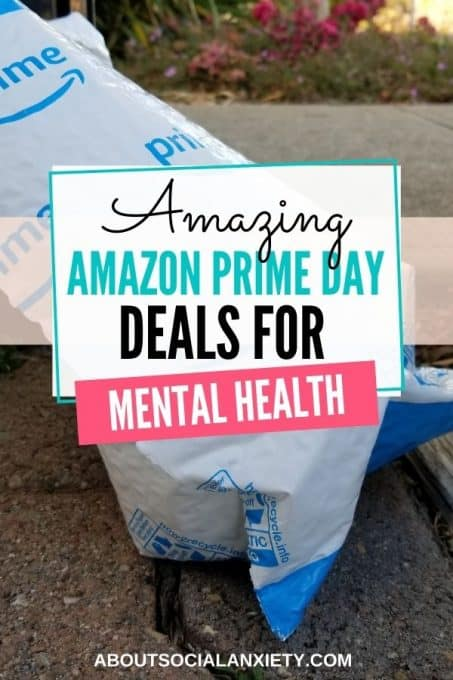Amazon package with text overlay - Amazon Prime Day Deals for Mental Health