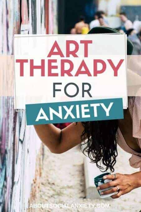 Woman painting with text overlay - Art Therapy for Anxiety