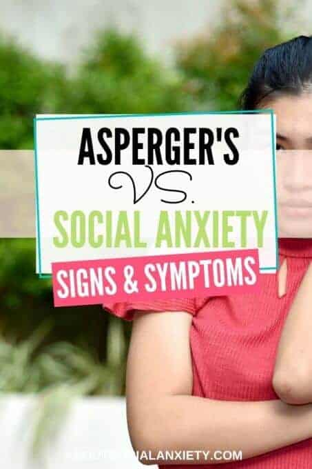 Woman with text overlay - Asperger's vs. Social Anxiety Signs & Symptoms