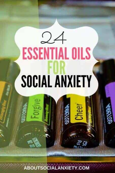 Doterra bottles with text overlay - 24 Essential Oils for Social Anxiety