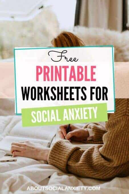 Person working with text overlay - Free Printable Worksheets for Social Anxiety