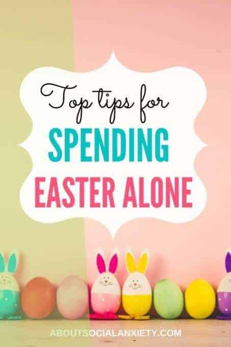 Easter eggs with text overlay - Top Tips for Spending Easter Alone