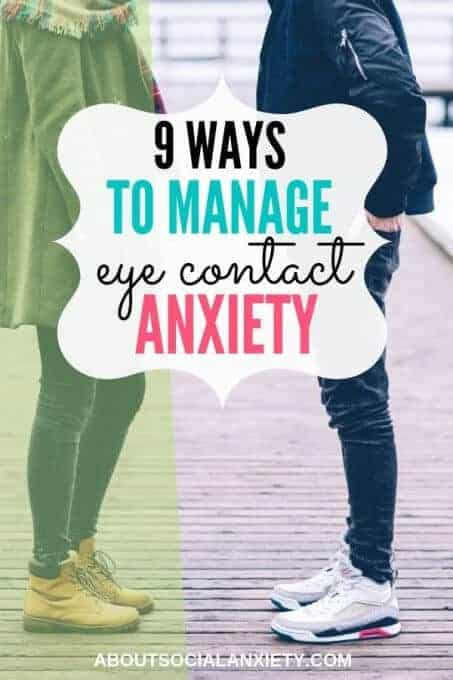 Two people looking at each other with text overlay - 9 Ways to Manage Eye Contact Anxiety