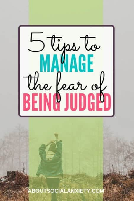 Woman with arms in air and text overlay - 5 Tips to Manage the Fear of Being Judged