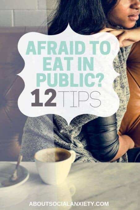 Woman sitting in restaurant with text overlay - Afraid to Eat in Public? 12 Tips