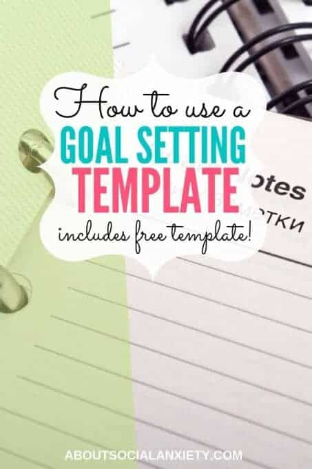 Notebook with text overlay - How to use a Goal Setting Template includes free template!