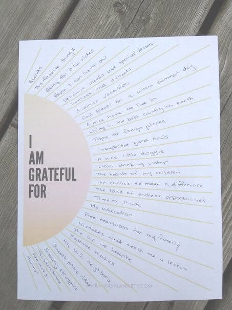 Gratitude Worksheet with sun's rays and text