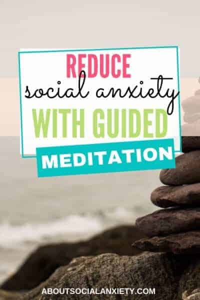 Beach with text overlay - Reduce Social Anxiety with Guided Meditation