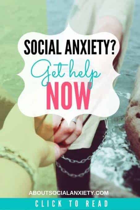 Helping hands with text overlay - Social Anxiety? Get help now.