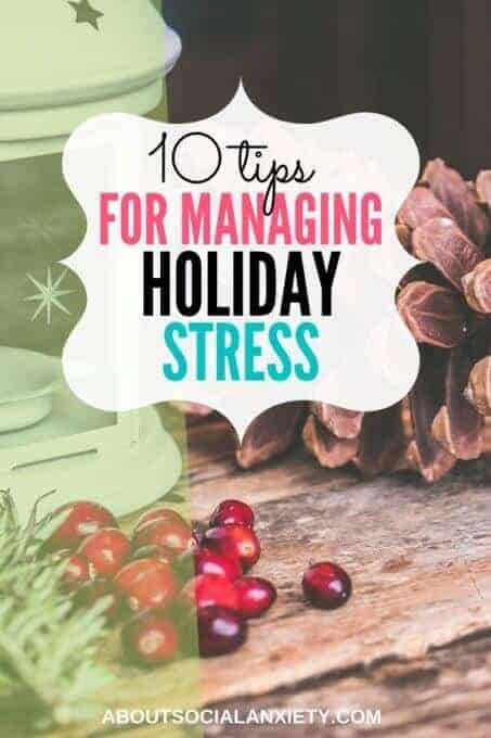 Holiday table with text overlay - 10 Tips to Manage Holiday Stress