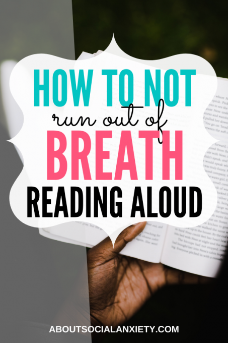 Woman reading book with text overlay - How to not run out of breath when reading aloud