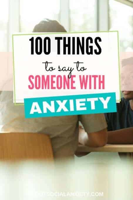 People talking with text overlay - 100 things to Say to Someone with Anxiety