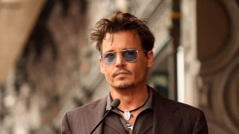 Johnny Depp at the podium.