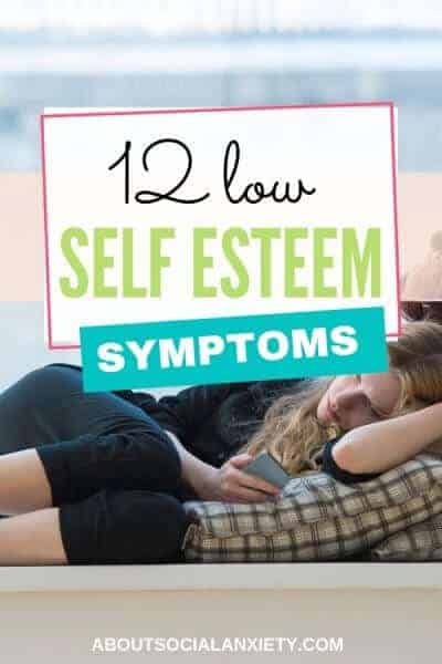Girl lying down with text overlay - 12 Low Self Esteem Symptoms