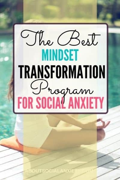 Woman doing yoga with text overlay - The Best Mindset Transformation Program for Social Anxiety