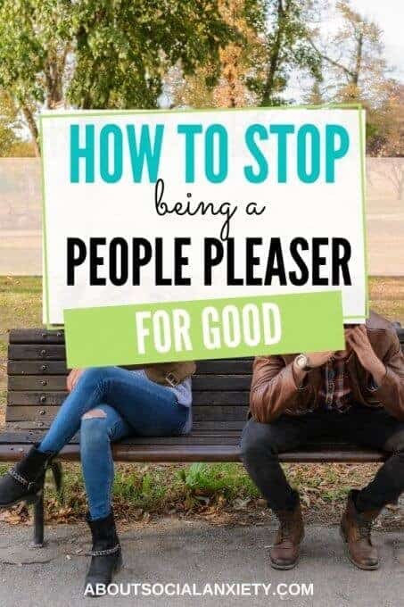 Couple arguing with text overlay - How to Stop Being a People Pleaser