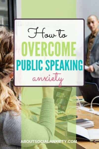 Business meeting with text overlay - How to Overcome Public Speaking Anxiety
