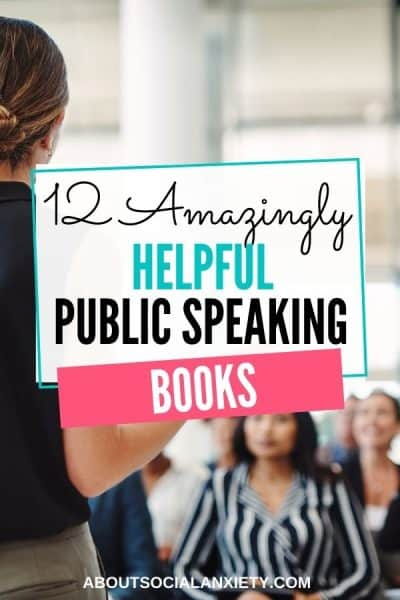 Woman speaking with text overlay - 12 Amazingly Helpful Public Speaking Books