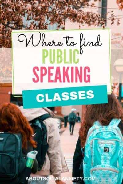 College campus with text overlay - Where to Find Public Speaking Classes