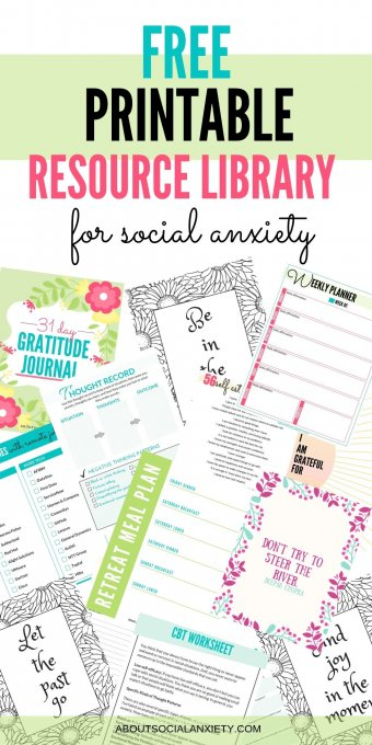 Free Printable Resource Library for Social Anxiety