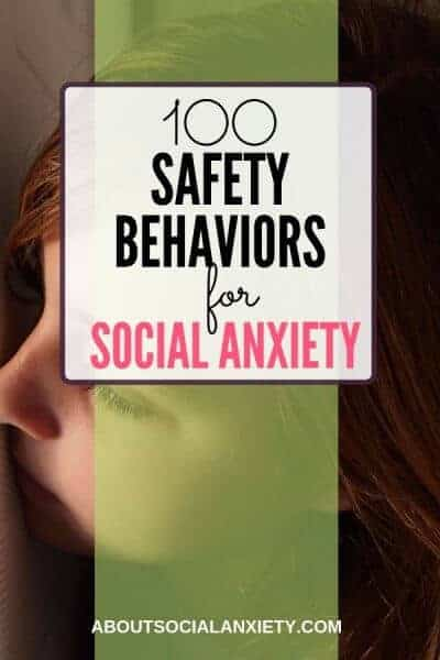 Woman hiding with text overlay - 100 Safety Behaviors for Social Anxiety