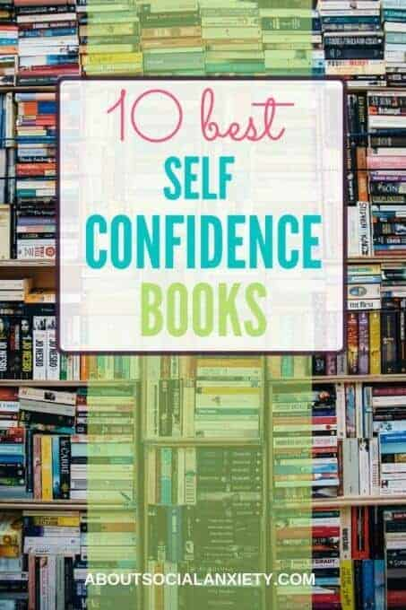 Stacks of books with text overlay - 10 Best Self Confidence Books