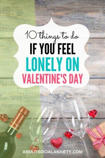 Wine glasses with text overlay - 10 Things to Do If You Feel Lonely on Valentine's Day