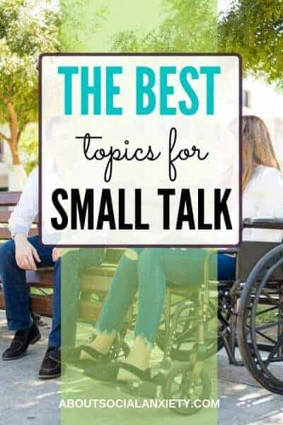People in park with text overlay - The Best Topics for Small Talk