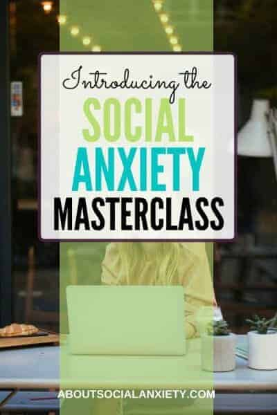 Woman on laptop with text overlay - Introducing the Social Anxiety Masterclass