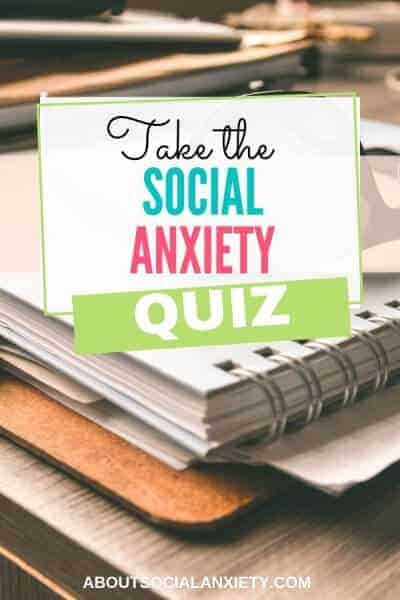 Notebook with text overlay - Take the Social Anxiety Quiz
