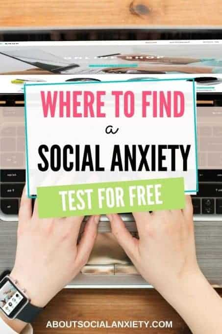 Woman on laptop with text overlay - Where to find a social anxiety test for free