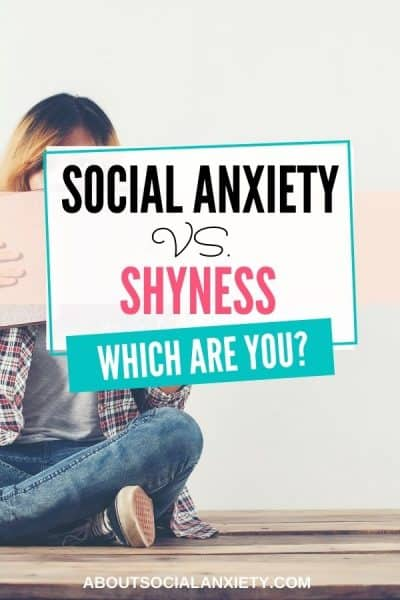 Woman hiding behind book with text overlay - Social Anxiety vs Shyness: Which are you?